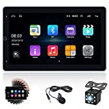 Double Din Android Car Stereo with GPS Car Radio with Bluetooth 10'' Rotated Vertical Touchscreen Car Audio with Backup Camera + WiFi + FM + External Microphone, Support Mirror Link & SWC & Dual USB