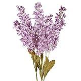 HUAESIN 3pcs Ramo de Flores Artificiales Decoraciones Largas Jacinto Plastico Flor Morada Artificial...