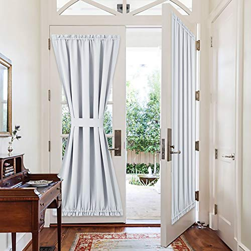 PONY DANCE Front Door Curtains - Window Treatments Solid Energy Efficient Rod Pocket French Patio Door Panel with Tiebacks, 54 x 72 in, Greyish White, 2 Pieces