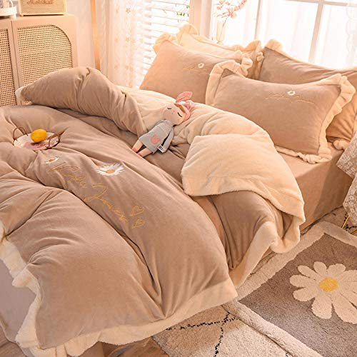 Shinon teddy bear bedding single fitted sheet,Winter thick plus velvet flannel duvet cover sheet king size bedding set-G_2.0m bed (four pieces)
