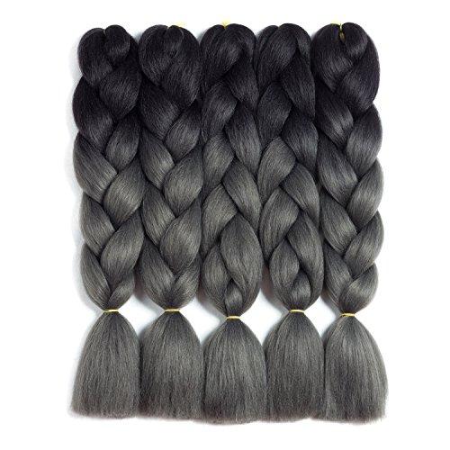 "Synthetic Braiding Hair Kanekalon Ombre Braiding Hair Jumbo Braids Synthetic Braiding Hair 5Pcs/Lot Hair Extension for Twist Braiding Hair 24"" (Black-silver-gray)"