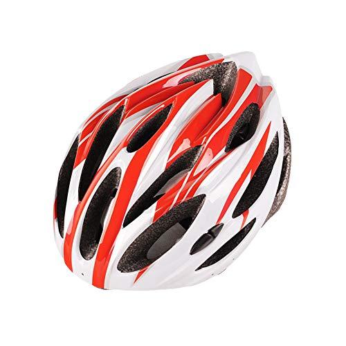 DaiHan Integral Geformt Radhelm für Racing Ultraleicht Fahrradhelm Mountainbike-Helm für Männer Und Frauen,Rot Weiß