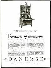 Mahogany Tambour Desk in 1928 DANERSK Furniture AD Original Paper Ephemera Authentic Vintage Print Magazine Ad/Article