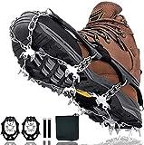 MSKS Crampones Nieve, Crampones Hielo con 24 Clavos de Acero Inoxidable, Crampones Antideslizantes, Crampones Senderismo Universales para Calzado para Caminar, Trotar Escalar, Botas, Pescar(M/L/XL)