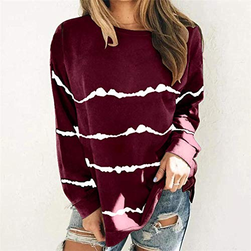 QSDM Camisetas y Blusas para Mujer Sudaderas de Mujer Tops Camiseta de Manga Larga con Estampado de Jersey de Rayas para Mujer Mujer-Vino Tinto_5XL