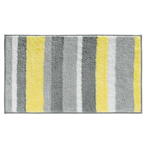 InterDesign Ombre - Alfombra de Microfibra (86 x 53 cm), Color Coral, Gris y Amarillo, 53 x 86 cm