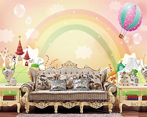 Preisvergleich Produktbild Wolipos 3D Wandmalerei Wand-Aufkleber Tapete Wandtattoo Modernes Karikaturregenbogenfoto Mit Kinderhaus Ation Hintergrund Hd Dekoration 400Cmx300Cm
