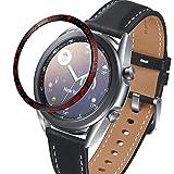 JJRRPA Per Samsung Galaxy Watch 3 41mm 45mm Lunetta Anello Styling Telaio Protezione Adesivo Antigraffio Lunetta In Acciaio Inox (Colore del cinturino: Nero rosso, Larghezza del cinturino: 45mm)