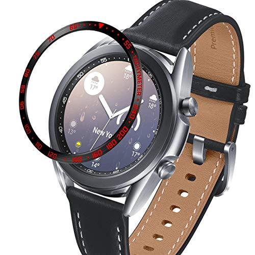 ZLRFCOK Para Samsung Galaxy Watch 3 41 mm 45 mm bisel anillo cubierta protectora adhesiva anti arañazos bisel de acero inoxidable (color de la correa: negro rojo, ancho de la correa: 41 mm)