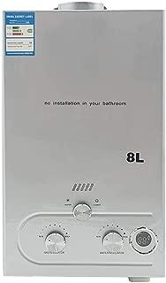 DOMINTY Calentador de agua de gas portátil, 8 L, 16 kW, ducha de camping propano para ducha en exteriores, ducha, baño, agua caliente, camping, ducha, plata, calentador, hervidor de agua caliente