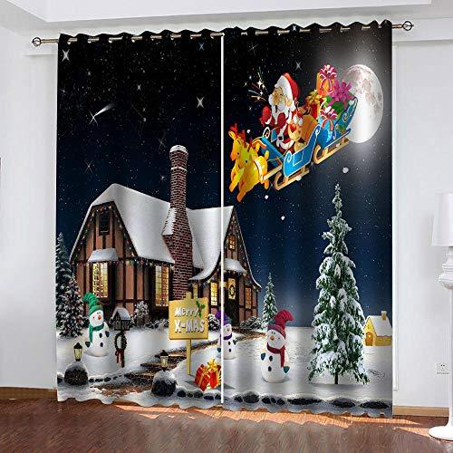 JJDSL Reducción Ruido Salón Dormitorio Cortina Suave Iglú de Navidad 254 x 213cm Cortina 3D Estampada para Salón Cortinas Modernas con Diseño Original