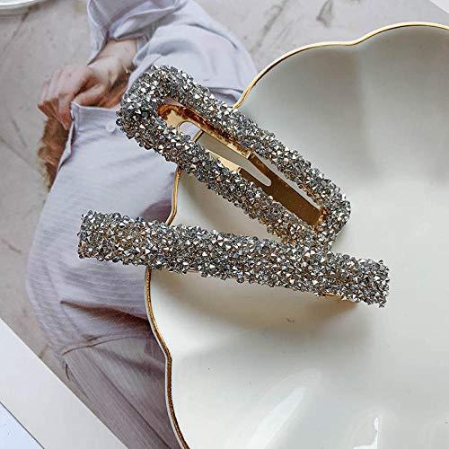 Zweiteiliger Retro Clip Kopfschmuck Kristall Haarnadel Top Clip-Sternenhimmel grau