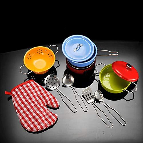 Seciie 11 Stück Kochgeschirr Kinder Edelstahl Kinderküche Zubehör Set Spielküche Zubehör Töpfe Pfannen Geschirr Küche Spielzeug für Kinder Geburtstagsgeschen