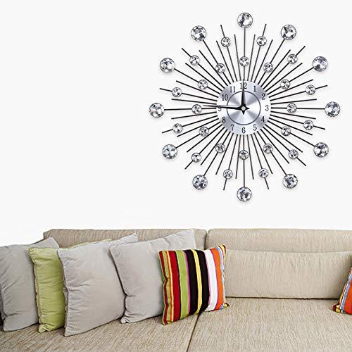 Jacksking Blumenförmige Wanduhr, Funkelnde Bling Metallic Wanduhr Kristall Wanduhr für das Büro im Wohnzimmer (Silber)(Runde Blume)