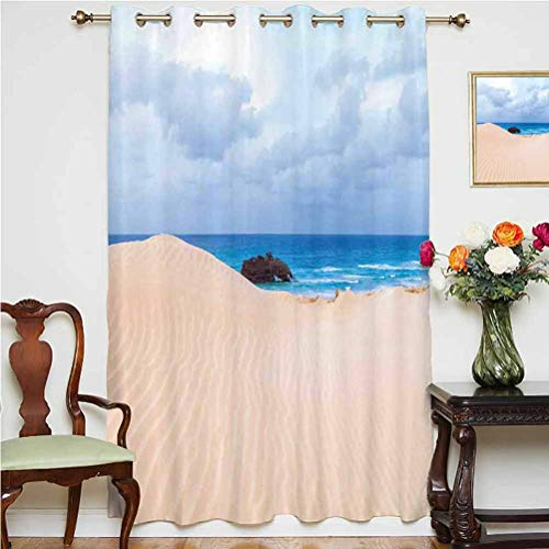 Ocean Decor Blackout Patio Door Curtains Boat Crash by Exotic Tropical Beach in African Shore Dream Atlantic Ocean Photo Thermal Backing Sliding Glass Door Drape ,Single Panel 52x63 inch,for Bedroom B