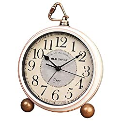 JUSTUP Silent Table Clock,5.2 in Retro Vintage Non-Ticking Desk Table Clock Small Decorative Alarm Clock Battery Operated with Large Numerals and HD Glass for Kids Sensors Indoor Decor(Arabic)