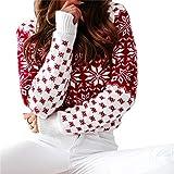 FDJIAJU Suéter De Mujer,Tejido De Punto,Suéter Casual Feo De Navidad para Mujer Otoño Invierno Cálido Jersey Suelto De Punto Rojo Estampado Floral Manga Larga Pullover Tops, B, M