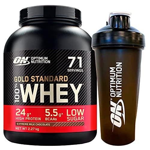 Optimum Nutrition Gold Standard 100% Whey Proteine in Polvere con Proteine Isolate e Aminoacidi per Massa Muscolare Cioccolato al Latte 2,27kg 71 Porzioni + SHAKER