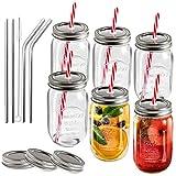 MASTERTOP Juego de 6 Vasos de Vidrio con Tapas y Pajitas 500ML Mason Jars Tarros...