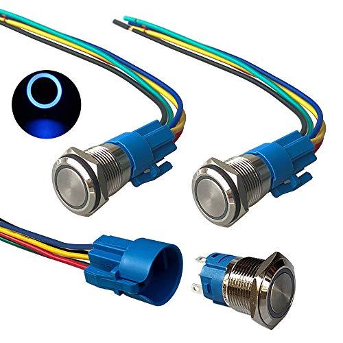 QitinDasen 3Pcs Premium 12V / 24V 5A Interruptor de Botón Momentáneo, 19mm Interruptor de Botón Metálico, LED Azul Interruptor Pulsador Impermeable IP67 con Enchufe de Cable