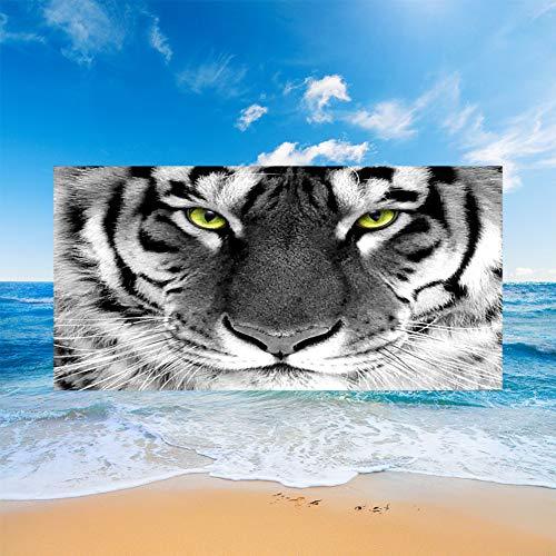 Sticker Superb. Elefante Mariposa León Pingüino Tigre Unicornio Toalla de Playa Manta de Playa de Microfibra Absorción de Agua Regalo de Playa de Vacaciones de Viaje Baño (Blanco 2,150x180cm)