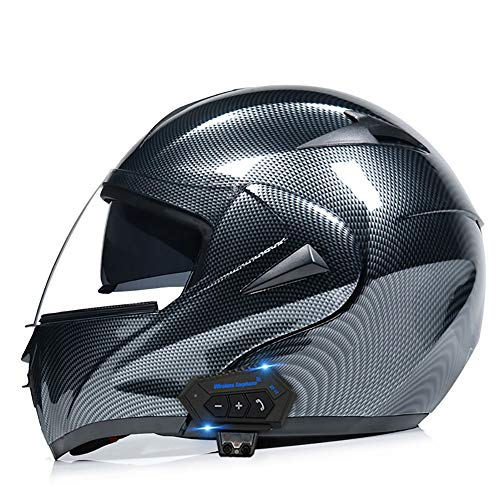 MAMAO Bluetooth Flip Up Motorcycle Helmet,DOT Approved Anti-Fog Double Visor Modular Full Face Motorbike Locomotive Helmet Removable Washable Lining Security Bluetooth Helmet (N, XL=(61~62CM))
