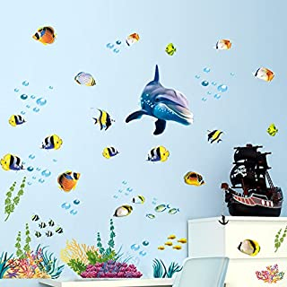 Holly LifePro Ocean Fish Wall Decal,Under The Sweet Blue Dolphin Wall Stickers for Kids Room Living Room Cafe Classroom Wa...