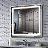 MAVISEVER 36x36 Inch LED Lighted Bathroom Mirror with 6500K high Lumen Lights, Anti Fog & CRI 95+, ETL Certification & IP 44 Waterproof, Smart Touch Button Wall Mounted Vertical & Horizontal, Hilton