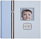 C.R. Gibson Slim Bound Photo Journal Album, Designer Pages, Space For Journaling, Holds 160 Photos, 80 Acid Free PVC Free Photo Safe Pages -All Boy