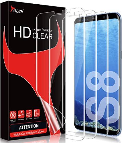TAURI [3 Pack Protector de Pantalla Samsung Galaxy S8,[No Aplica para Samsung Galaxy S8 Plus] [Sin Burbujas] HD Clear TPU Película Flexible de Cobertura Completa