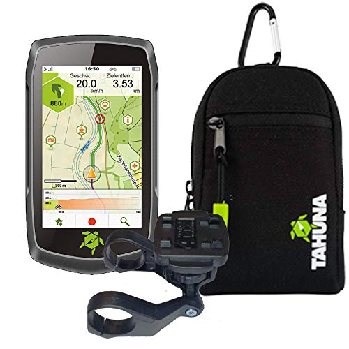 TEASI ONE4 - Fahrrad- & Wandernavigation + Fahrradhalter Lenkerbefestigung + USB Netzteil + Schutzfolie + optionales Zubehör (Teasi one4 + Dualhalter, Teasi Tasche)