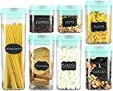 Airtight Food Storage Containers – 7 pc Set - Shatterproof Plastic Food Containers - Green Airtight Lids – BPA Free Food Storage Boxes for Kitchen Pantry, Includes 24 Chalkboard Labels and Marker
