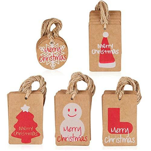 [UK Stock]50/100 Christmas Kraft Paper Gift Tags Price Wedding Scallop Label Blank Luggage