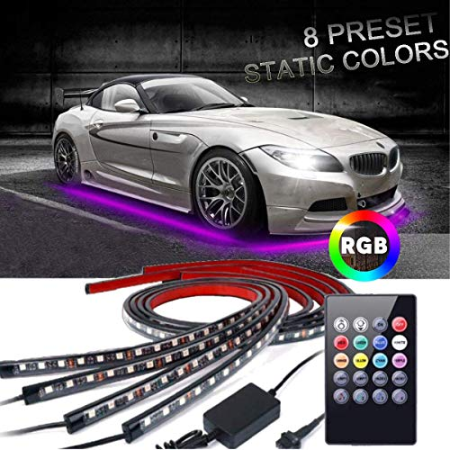EJ's SUPER CAR Car Underglow Lights, Underglow Underbody System Neon Strip Lights Kit,8 Color Neon Accent Lights Strip,Sound Active Function and Wireless Remote Control 5050 SMD LED Light Strips