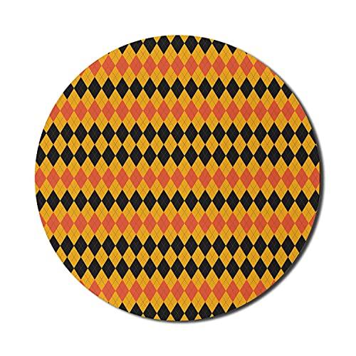 Geometrisches Mauspad für Computer, von Scottish Plaid Style inspirierte Motive in Halloween-Farbmuster, rundes, rutschfestes, modernes Gaming-Mousepad aus dickem Gummi, 8 'rund, Koralle, dunkelgrau u