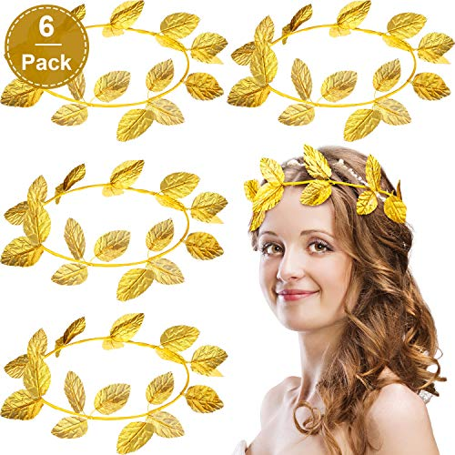 WILLBOND 6 Pieces Roman Laurel Wreath Bay Leaf Headband Halloween Headband Decoration Gold Ring Masquerade Accessories