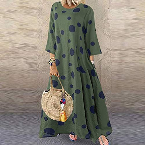 SHYPT Vestido de Lunares de Lunares de otoño, Vestido de algodón y Ropa de Cama Retro, Vestido de Lino, Vestido de Mujer de diseño Verde (Size : 5XL)