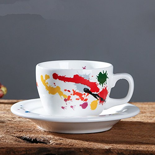LOYWT tazas de café, magnesia, porcelana tazas, platos, Inglés Latte, Latte Copas, tazas de té, B