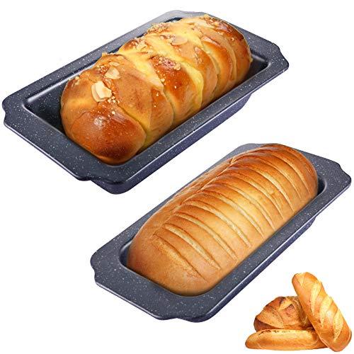 2Pcs Brotformset Groß Kastenform 30cm und klein Brotbackform 28cm, toastbrot backform Antihaftende Backform für Kuchen und sauerteigbeständig Aus Karbonstahl gefertigt