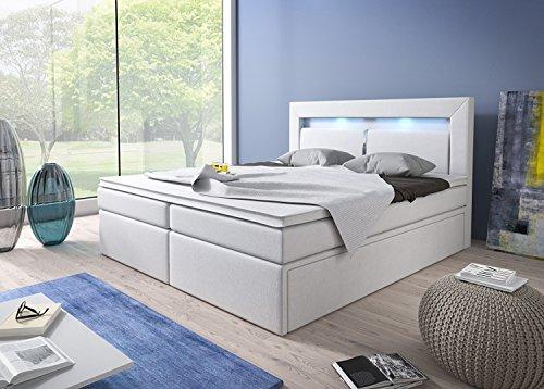 Boxspringbett 180×200 Weiß mit Bettkasten LED Kopflicht Kunstleder Hotelbett Polsterbett Brüssel (180 x 200) - 4
