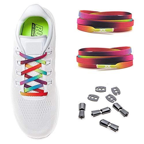 MAXX laces Lacets Élastiques sans Attache | Lacets Plats pour Enfant et Adulte | Cordons Extensibles sans Nœuds pour Chaussures de Sport (Rainbow)