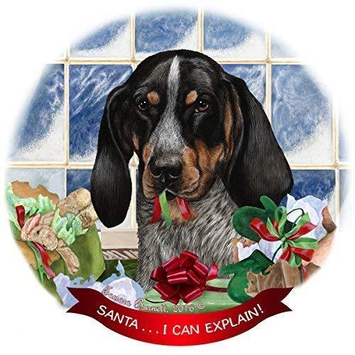 ymot101 Porzellanfigur Coonhound Hund mit blauem Zecken Weihnachtsbaum mit Aufschrift I Can Alicain