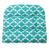 Fulton Aqua Wicker Chair Cushion - Size Large - Indoor / Outdoor Fade Resistant Water Repellant - Latex Foam Patio Cushion - Made in USA (Turquoise Quatrefoil)