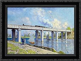 Railway Bridge at Argenteuil 24x18 Black Ornate Wood Framed Canvas Art by Claude Monet
