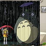 Wasserdicht Anti-Schimmel-Effekt Waschbar Duschvorhang mit 12 Kunststoffhakens Duschvorhangringe Polyester Textil Stoff Badewannevorhang Mein Nachbar Totoro Totoro01 180cmx200cm