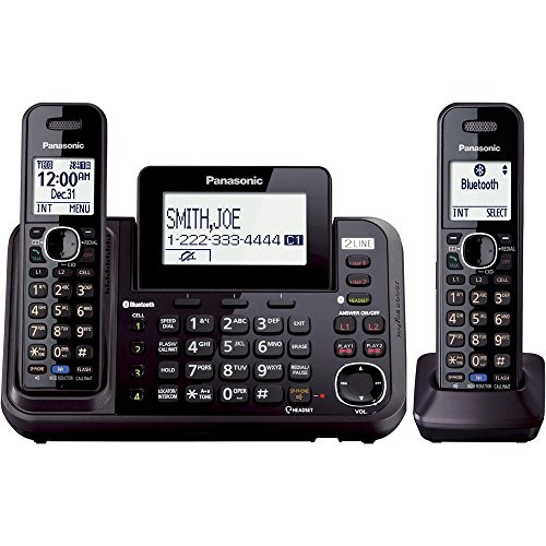 home phone 2 lines Panasonic 2-Line Cordless Phone System with 2 Handsets - Answering Machine, Link2Cell, 3-Way Conference, Call Block, Long Range DECT 6.0, Bluetooth - KX-TG9542B (Black)