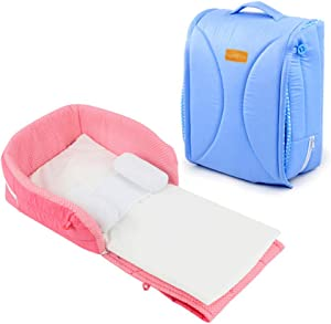 KLI Portable Newborn Infant Baby Crib Mattress Your Side Sleeper 92 15Cm Bed  Mattress  Small Pillows