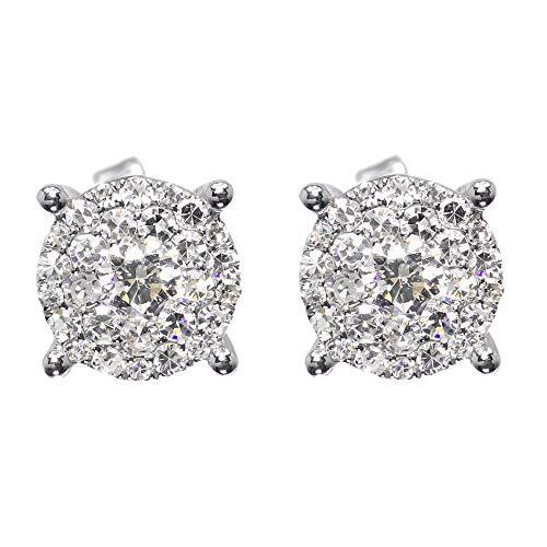 14 k oro blanco plateado plata esterlina para hombre damas diamante redondo solitario 8 mm pendientes Studs 1.15ct