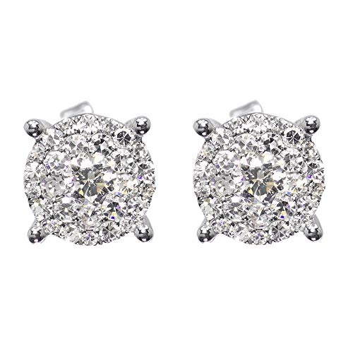 14 k oro blanco plateado plata esterlina para hombre damas diamante redondo solitario 8 mm pendientes Studs 1.15ct