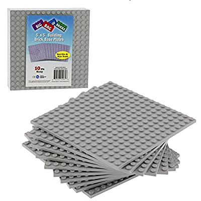 SCS Direct Brick Building Base Plates - 5 x 5 Grey Baseplates (10pcs) - Dual Side Connectivity, Tight Fit w All Brands from SCS Direct